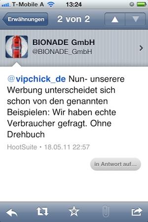 Bionade-Antwort via Twitter